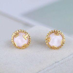 NEW Tory Burch Gold/Pink Logo Circle Stud Earrings